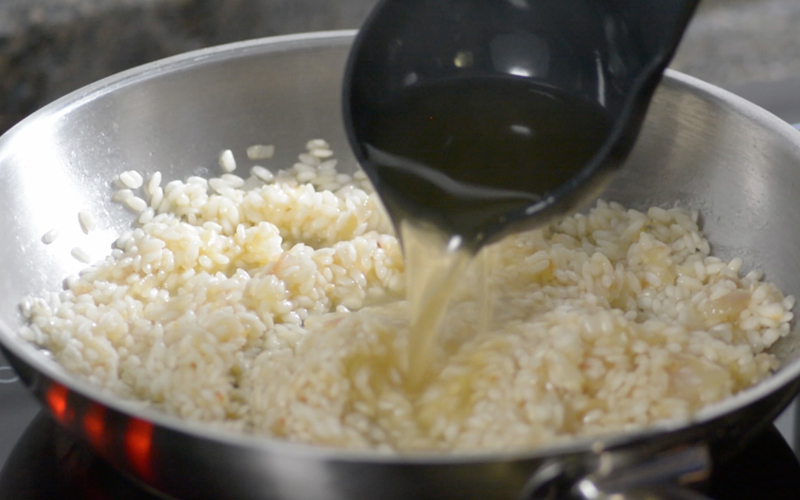Adding Stock to Risotto