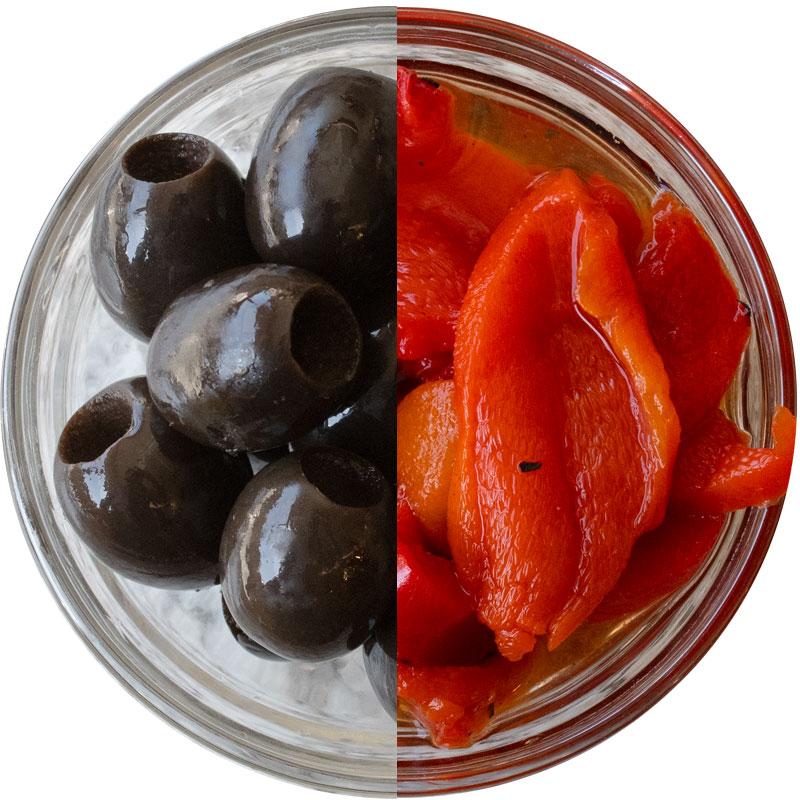 Roasted Peppers Black Olives