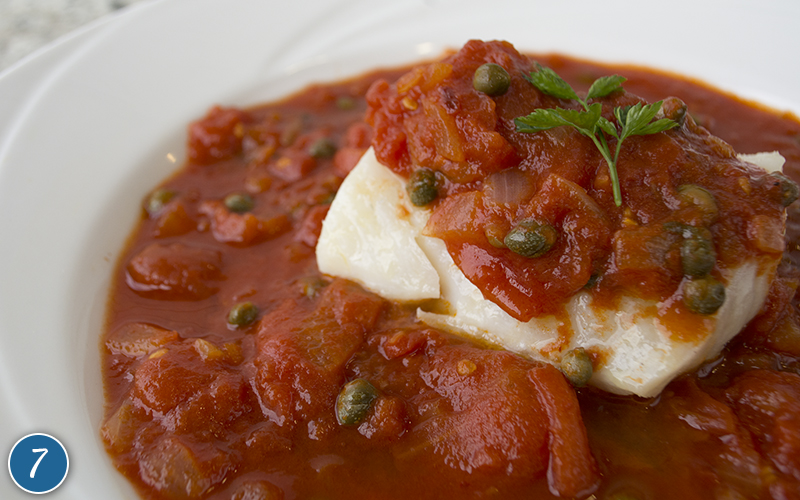Poached Cod in Tomato Caper Sauce