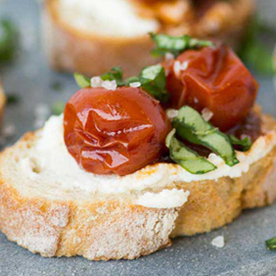 Caramelized Cherry Tomato Bruschette