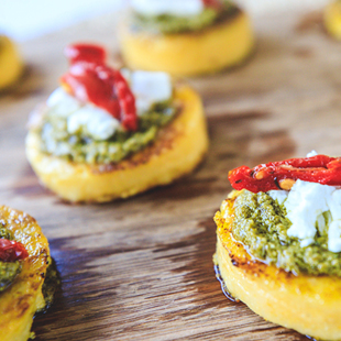 Pesto, Goat Cheese & Sun Dried Tomato Appetizer