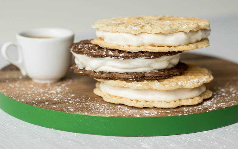Little Ginas Pizzelle Ice Cream Sandwich